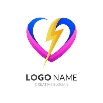 Projektowanie logo miłości i grzmotu, nowoczesny styl logo w żywych kolorach gradientu