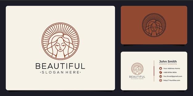 Projektowanie logo monoline piękna kobieta i wizytówka