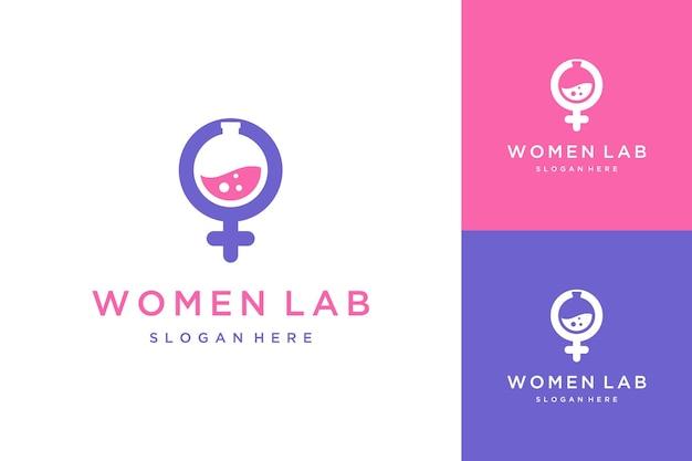 Projektowanie logo negatywna przestrzeń laboratoryjna kobieta lub płeć żeńska ze szkłem laboratoryjnym i płynem
