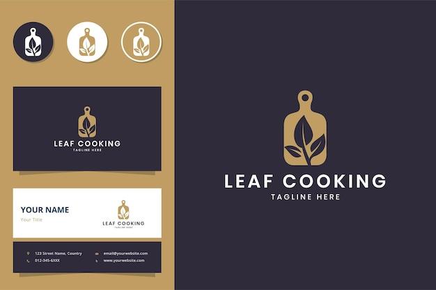 Projektowanie logo negatywnej przestrzeni do gotowania liści