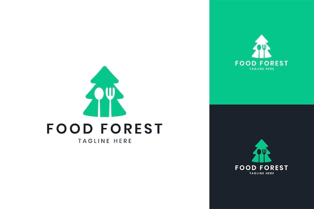 Projektowanie logo negatywnej przestrzeni drzewa żywności