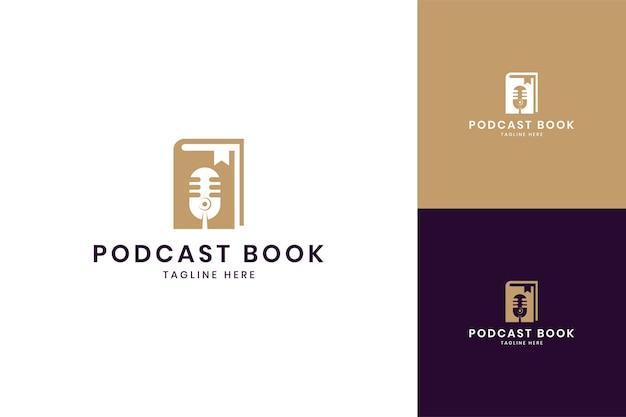 Projektowanie logo negatywnej przestrzeni książki podcastowej