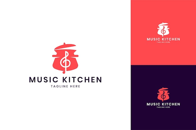 Projektowanie logo negatywnej przestrzeni muzycznej kuchni