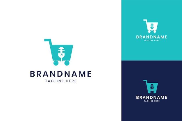 Projektowanie logo negatywnej przestrzeni podcastów na zakupy