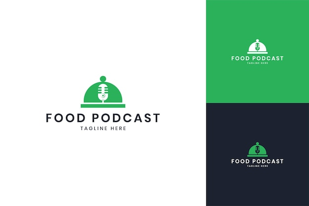 Projektowanie logo negatywnej przestrzeni podcastu spożywczego