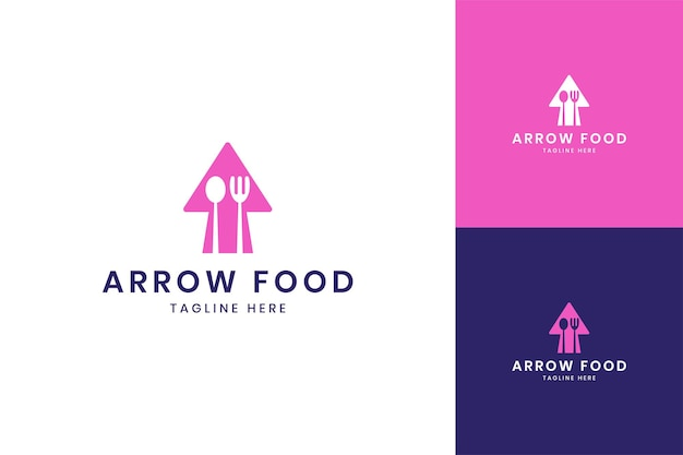 Projektowanie logo negatywnej przestrzeni strzałki żywności