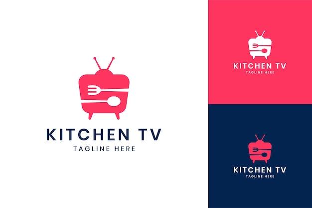 Projektowanie logo negatywnej przestrzeni telewizyjnej w kuchni
