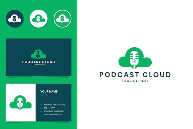 Projektowanie Logo Negatywnej Przestrzeni W Chmurze Podcastów Premium Wektorów