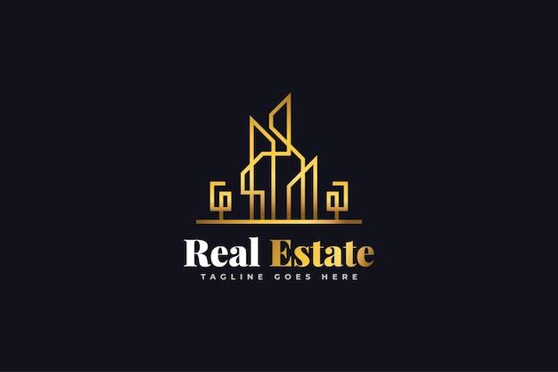 Projektowanie logo nieruchomości w stylu linii w złotym gradiencie. szablon projektu logo dla budownictwa, architektury lub budynku