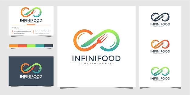 Projektowanie logo nieskończoności żywności i wizytówki