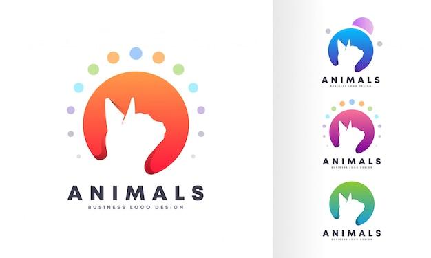 Projektowanie logo nowoczesnego zwierzaka kolorowe bańki