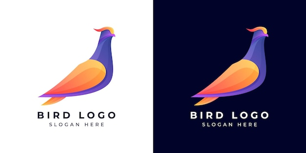 Projektowanie logo nowoczesny ptak kolorowy lub gradientowy