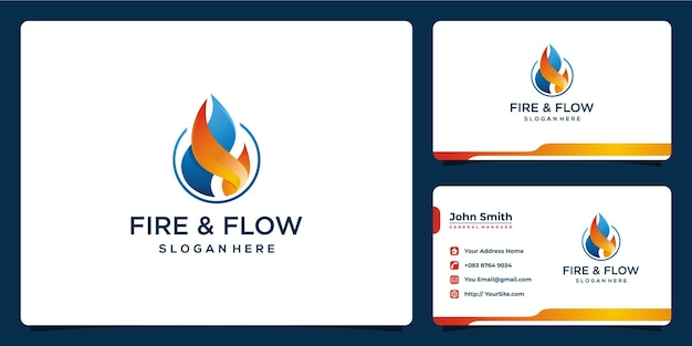 Projektowanie logo ognia i przepływu z szablonem wizytówki