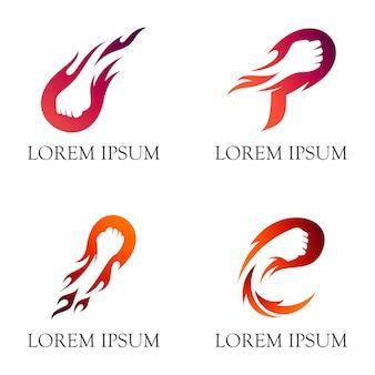 Projektowanie logo ognia pięści / ognisty cios z negatywnym stylem przestrzeni