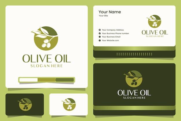 Projektowanie logo oliwy z oliwek i wizytówki