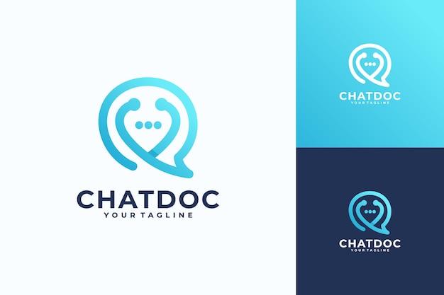 Projektowanie logo online usług wirtualnych lekarza. konsultacje z lekarzami za pomocą symbolu cyfrowej zdalnej ilustracji