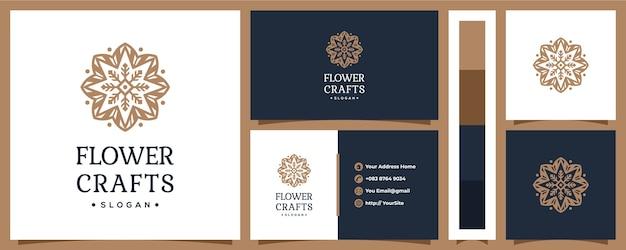 Projektowanie logo ornament rzemiosła kwiatowego z koncepcją wizytówki
