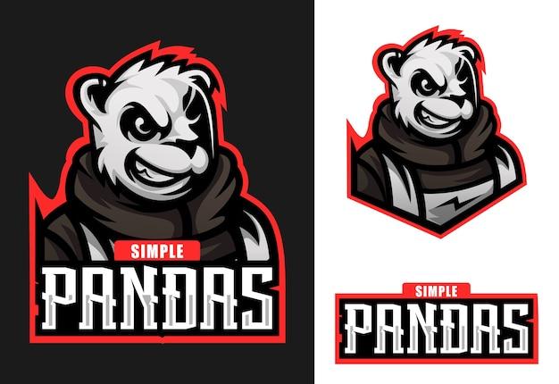 Projektowanie logo panda maskotka esport