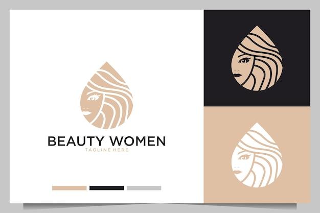 Projektowanie logo piękna kobiet. dobre zastosowanie w salonie lub spa