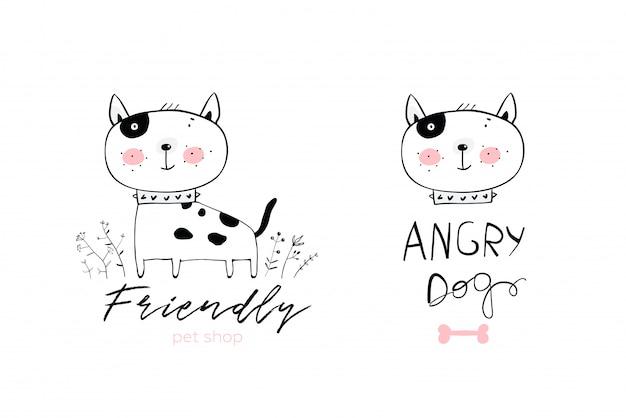 Projektowanie logo pies słodkie dzieci