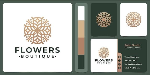 Projektowanie logo premium monoline kwiaty z szablonem wizytówki