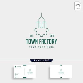 Projektowanie logo przemysłu miejskiego w domu fabryka wektor ikona na białym tle