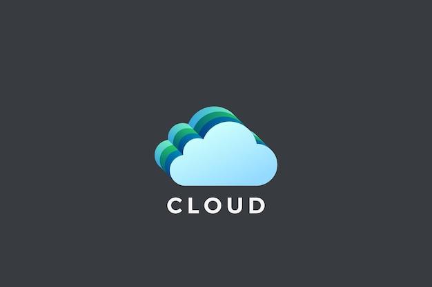 Projektowanie logo przetwarzania w chmurze. logotyp technologii sieciowej pamięci masowej