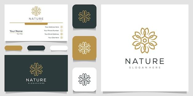 Projektowanie logo przyrody w stylu grafiki liniowej. logo może być używane do spa, salonu piękności, dekoracji, butiku. i biznes