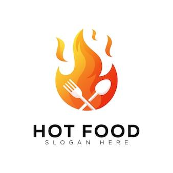 Projektowanie logo restauracji ogień gorące jedzenie