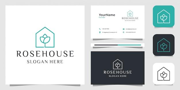 Projektowanie logo rose house. dobry do wizytówek, brandingu, spa i dekoracji