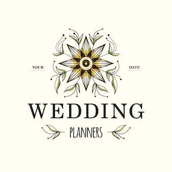 Projektowanie logo ślubu kwiat ręcznie rysowane