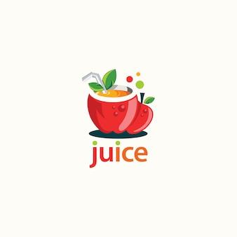Projektowanie logo soków owocowych. logo świeżego napoju - wektor