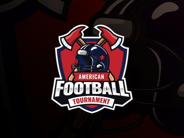 Projektowanie logo sportu futbolu amerykańskiego. odznaka wektor nowoczesnej profesjonalnej piłki nożnej. kask do futbolu amerykańskiego ze skrzyżowanymi toporami