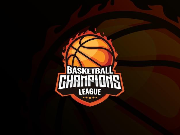 Projektowanie logo sportu koszykówki. koszykówka na ilustracji wektorowych ognia. liga mistrzów koszykówki,