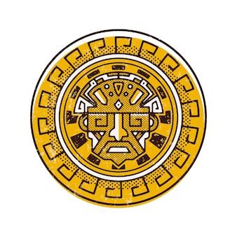 Projektowanie logo starożytnej twarzy majów