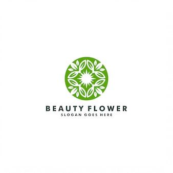 Projektowanie logo streszczenie elegancki kwiat. logotyp zielony liść natury