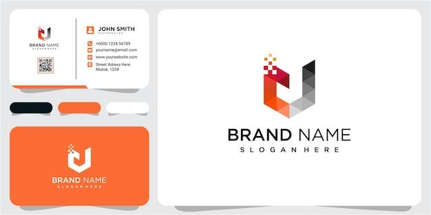 Projektowanie logo streszczenie litery u. kreatywny, minimalistyczny szablon projektu godła premium