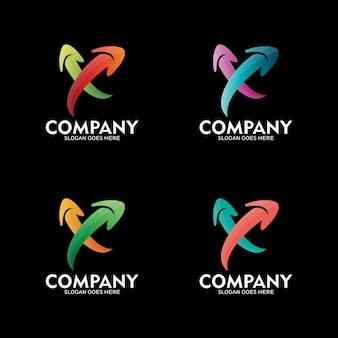 Projektowanie logo strzałki litery x, szablon logo wektor