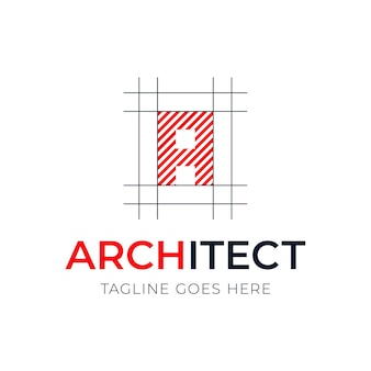 Projektowanie logo styl architektury litery. plan projektu z logotypem listu
