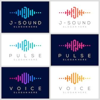 Projektowanie logo symbol puls. element odtwarzacza muzyki. szablon logo muzyka elektroniczna, dźwięk, korektor, sklep, dj, klub nocny, dyskoteka. koncepcja logo fali dźwiękowej.