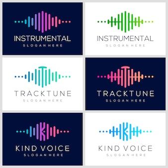 Projektowanie logo symbol puls. element odtwarzacza muzyki. szablon logo muzyka elektroniczna, dźwięk, korektor, sklep, dj muzyki, klub nocny, dyskoteka. koncepcja logo fali dźwiękowej.