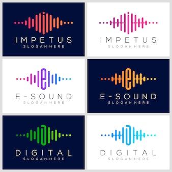 Projektowanie logo symbol puls. element odtwarzacza muzyki. szablon logo muzyka elektroniczna, dźwięk, korektor, sklep, muzyka dj, klub nocny, dyskoteka. koncepcja logo fali dźwiękowej.