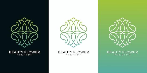 Projektowanie logo sztuki linii kwiat piękna