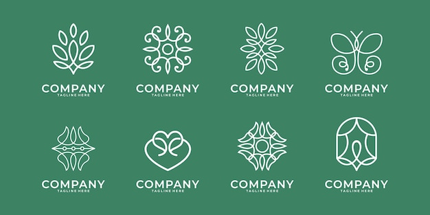 Projektowanie logo sztuki linii piękna. dobre zastosowanie do spa, urody, salonu, logo jogi