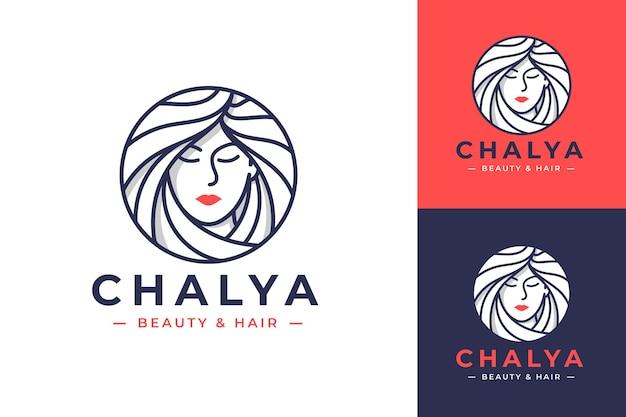 Projektowanie logo sztuki linii uroda kobiety w trzech opcjach kolorystycznych