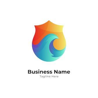 Projektowanie logo tarczy i fali