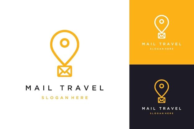 Projektowanie logo technologia podróży lub balon lub przypinka z wiadomością