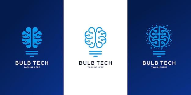 Projektowanie logo technologii abstrakcyjnej żarówki
