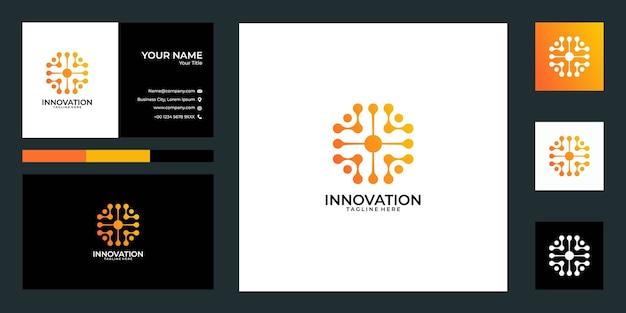 Projektowanie logo technologii i wizytówki. dobre wykorzystanie logo aplikacji lub technologii
