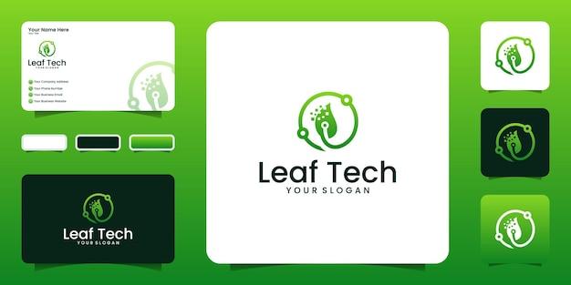 Projektowanie logo technologii liści. projektowanie logo abstrakcyjnej technologii i inspiracja wizytówkami